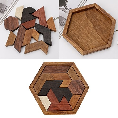 BecauseOf Chinese Wooden 3D Jigsaw Puzzle Building Game Toy Blocks Chexagon Brain Teaser Kids Early Educational