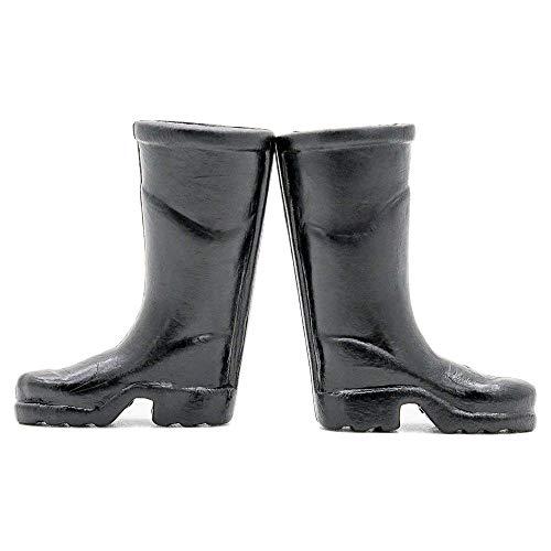 Odoria 1 6 Miniature Black Rain Boots Shoes Dollhouse Fairy Garden Accessories