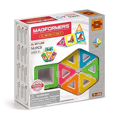 Magformers xL Neon 14 Pieces Set Rainbow Colors Educational Magnetic Geometric Shapes Tiles Building STEM Toy Ages 3+