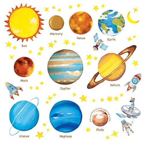 DECOWALL DAT-1307L Planets in The Space Kids Wall Stickers Decals Peel and Stick Removable for Nursery Bedroom Living Room Large