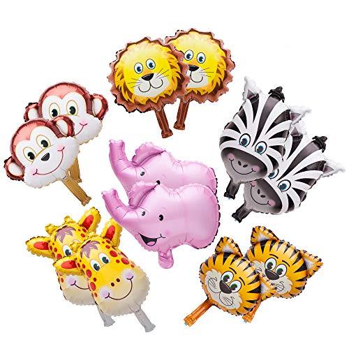 Sun-E Mini Animals Balloons Jungle Safari Theme Birthday Party Decorations for Kids Children Hand Caught Balloon 12PCS in Set