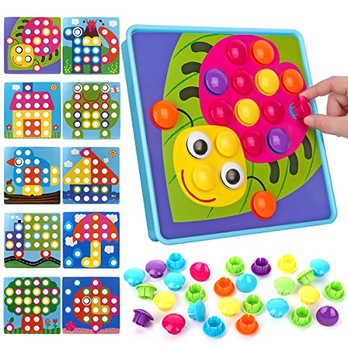 Nextx Button Art Toy Color Matching Mosaic Pegboard Early Learning Educational Preschool Games for Kids Motor Skills