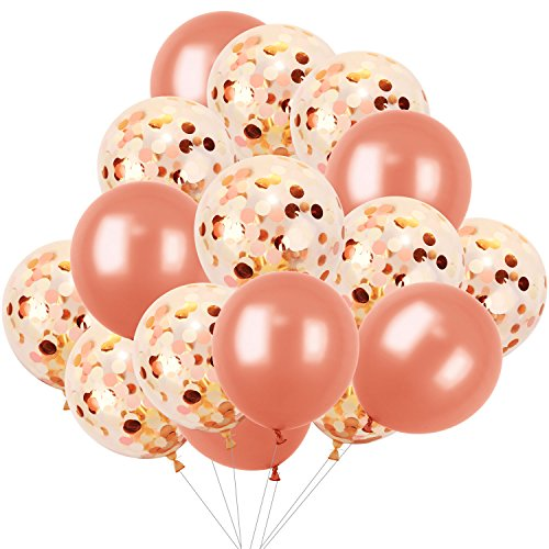 Hestya 16 Pieces 12 Inches Rose Gold Balloons Decorations Including 10 Confetti with Golden Light Pink and White Paper Dots 6 Latex Balloo