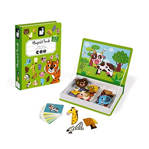 Janod MagnetiBook 41 pc Magnetic Animal Mix and Match Game for Creativity Motor Skills – Book Shaped Travel Storage Case Included STEM Toy Ages 3+