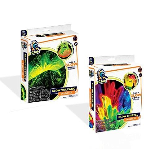 Bundle of 2 Adventure Club Science Kits – Glow Valcano Eruption Kit and Crystal Growing