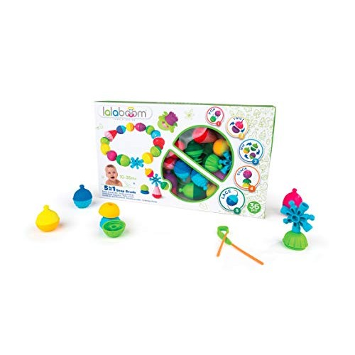 Lalaboom BL300 Step-by-Step Developmental Activity Beads 36 Piece Set Pop Twist Mix Stack and Lace Montessori Method STEM Focus Dishwasher Safe – Ages 10 Months 3 Years