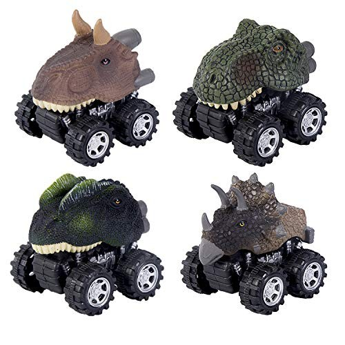 Pull Back Vehicles4 Pack Dinosaur Vehicles Toys with Big Tire Wheel for 3-14 Year