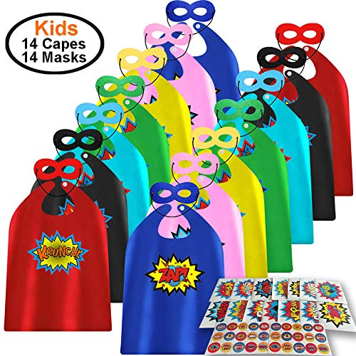 ADJOY Child Super Hero Capes and Masks 14 Sets Pack with Superhero Stickers – Themed Birthday Party Dress Up