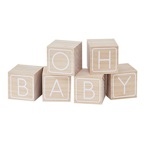 Ginger Ray Wooden Oh Baby Building Block Shower Guestbook Keepsake 6 Pack