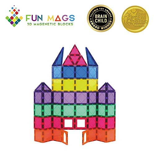 Fun Mags Magnetic Blocks 72-Piece Set 3D Building STEM Educational Magna Tiles Magnet Toys for Kids Toddlers