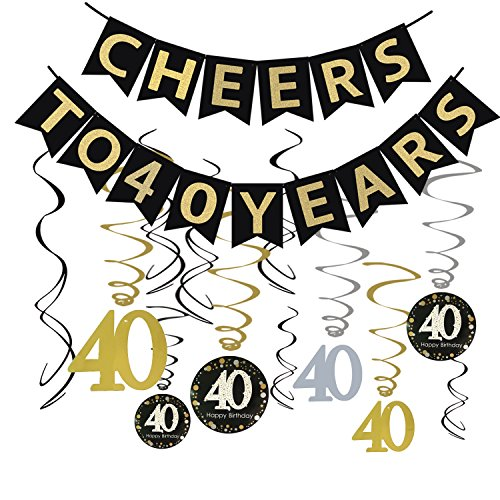 Tuoyi 40th Birthday Party Decorations KIT – Cheers to 40 Years Banner Sparkling Celebration Hanging Swirls Perfect Old Supplies Anniversary Banner