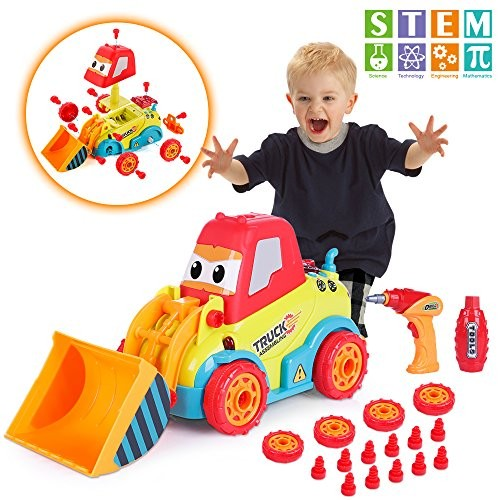 VATOS Take Apart Car STEM Toys for 3 -4 -5 Years Old Boys & Girls Construction with Sounds Lights Drill Tool Build Your Own Kit Toy Cars 3+ Year DIY Assembling Bulldozer