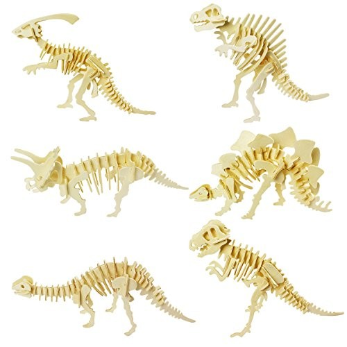 calary 3D Wooden Puzzle Simulation Animal Dinosaur Assembly DIY Model Toy for Kids and AdultsSet of 6