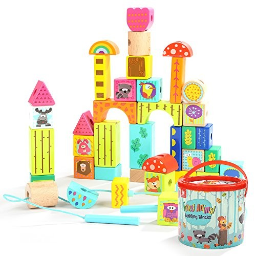 TOP BRIGHT Wooden Building Blocks Set Educational Toys Gifts for 2 3 Year Old Colored Animal Lacing Beads 38 Pieces