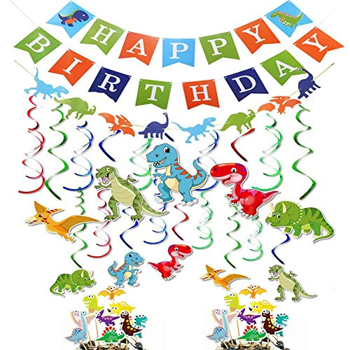 Dinosaur Birthday Party Decorations Supplies Happy Banner Garland Hanging Swirl Cupcake Toppers Great for Baby Shower Boy's Decor Dino Dig