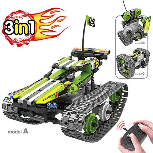 BIRANCO Remote Control Car for Boys – RC Tracked Racer Building Blocks Set Kit Fun Educational Learning STEM Toys Kids Age 8 9 12 13 and 14 Year Old Boy Gift Ideas