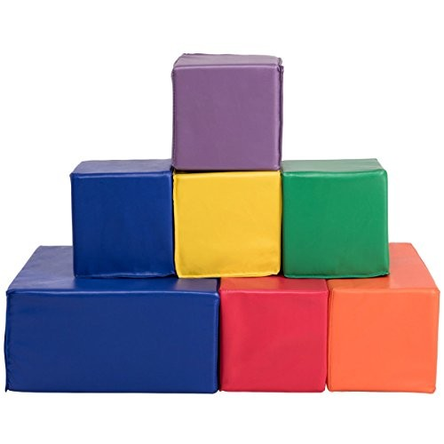 FDInspiration Multi Color 7Pcs Kids PU Foam Blocks Building Play Set w 3 Size Shapes