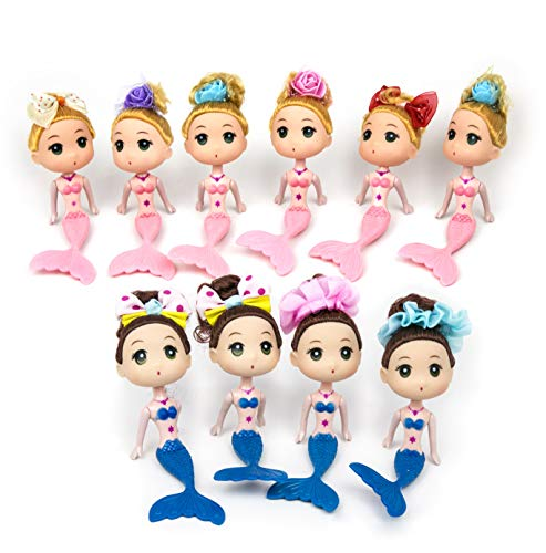 JJMG New 10 Mermaid Princess Doll Pack Cake Toppers Ocean For Decoration Pink & Blue