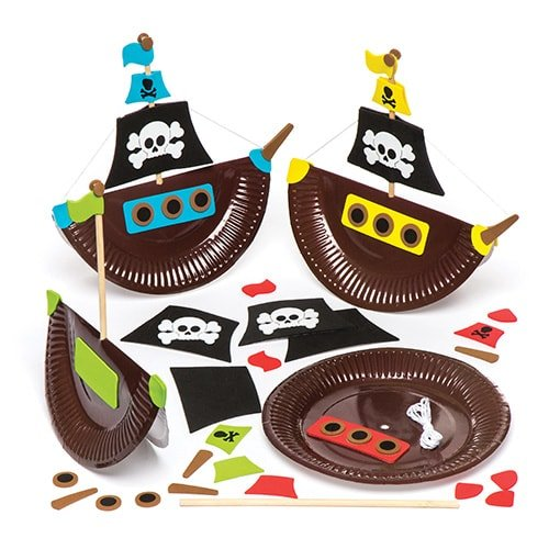 Pirate Ship Plate Kits Pack of 4 Kids to Make & Decorate