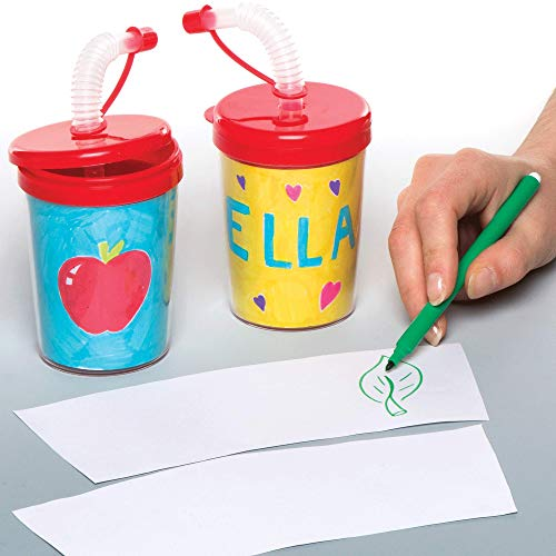 Baker Ross Colour-in Bendy Straw Cups Pack of 3 Kids to Decorate