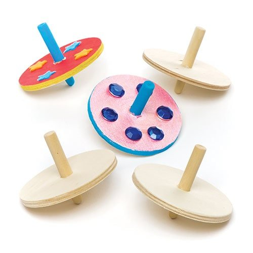 Wooden Spinning Tops Pack of 6 for Kids Party Bag Fillers Or Gift