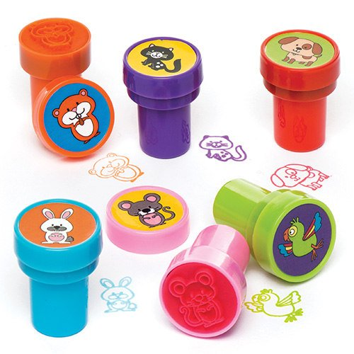 Baker Ross Ltd Pets Self-Inking Stampers Pack of 10 Kids to Decorate Arts Crafts