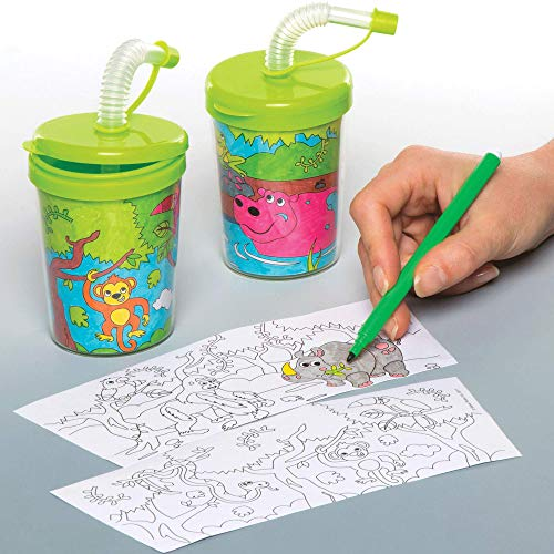 Baker Ross Colour-in Jungle Animal Bendy Straw Cups Pack of 3 for Kids to Decorate