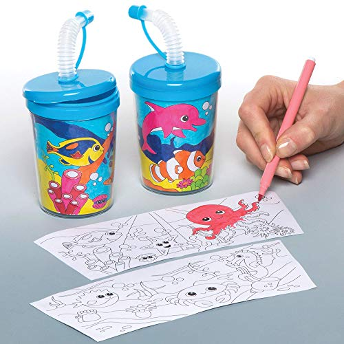 Baker Ross Colour-in Sea Life Bendy Straw Cups Pack of 3 for Kids to Decorate