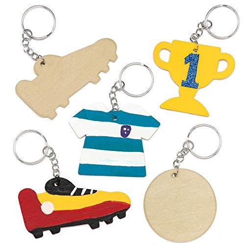 Baker Ross Soccer Wooden Keyrings Pack of 8 Kids to Decorate