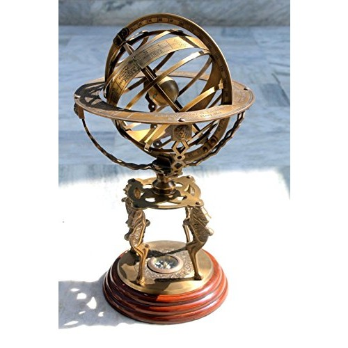 Armillary Globe By Era Collection Sphere Large Armillary Zodiac Armillary Decor Outdoor Vintage Brass Antique Style Nautical Garden Decorative Office Room With Compass on Base Gift Item