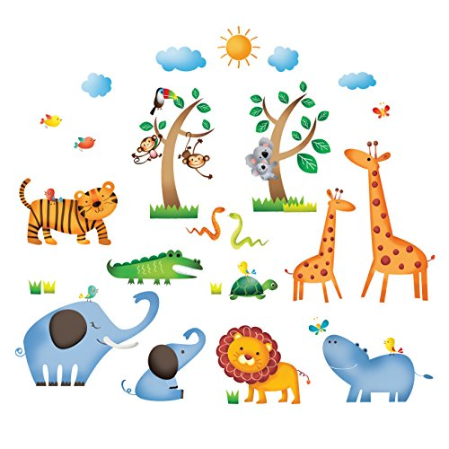 DECOWALL DS-8016 Wild Jungle Animals Kids Wall Stickers Decals Peel and Stick Removable for Nursery Bedroom Living Room Small