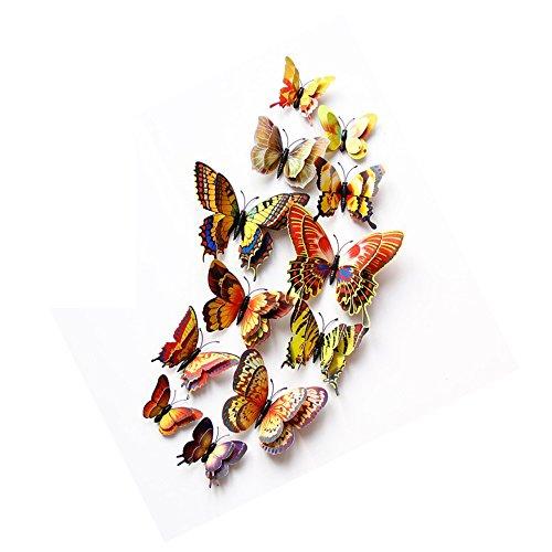 DAGOU Mixed of 12PCS 3D Pink Butterfly Wall Stickers Decor Art Decorations Golden