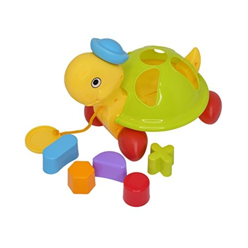 Home-x Shape Sorting Tortoise Pull Toy First Building Blocks Learning for Baby Infant and Toddler
