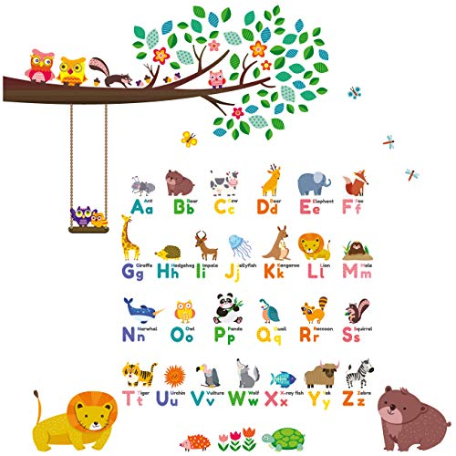 DECOWALL DW-1614P1410 Animal Alphabet ABC Large Branch Owls Kids Wall Stickers Decals Peel and Stick Removable for Nursery Bedroom Living Room
