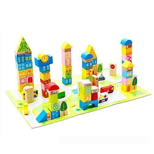 Mochiglory 100Pcs City Transportation Building Wooden Blocks Stacking Set Toys for Kids