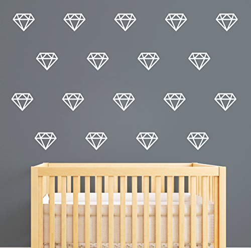 Diamond Wall DecalsWall Art Geometric DecorVinyl Stickers for Baby Kids Bedroom Nursery Decoration A15 White