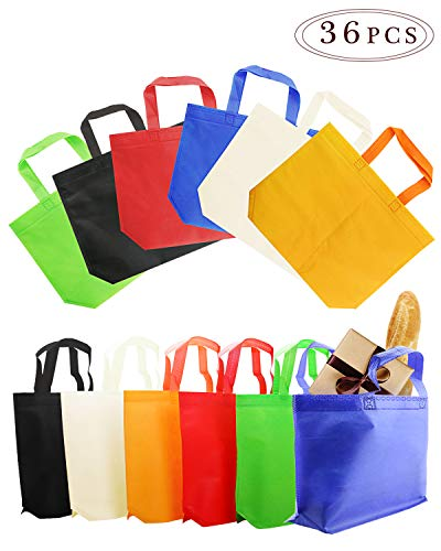 BcPowr 36 PCS 810 2025cm Non-Woven Gift BagParty Tote Bags6 ColorsNon-Woven MaterialAssorted Colorful Blank Canvas BagsRainbow Colors with Handles for Birthday FavorsDelivery Bag