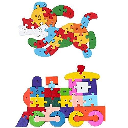Wooden Alphabet Puzzle 2PCS Puzzles Learning Letters Blocks Numbers Block Toys for Childrens