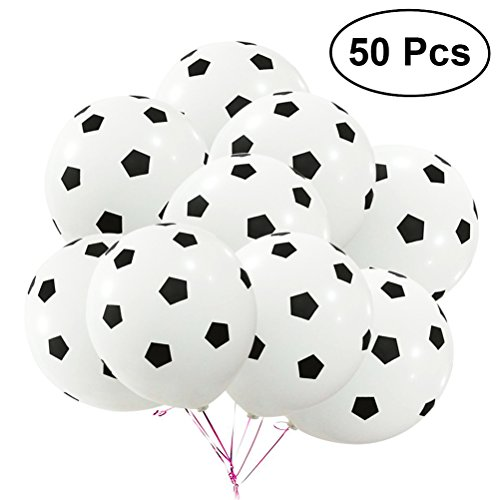 TOYMYTOY 50Pcs 12Inch Party Football Balloon Soccer Latex Rubber Balloons for Decoration 35g Football Pattern