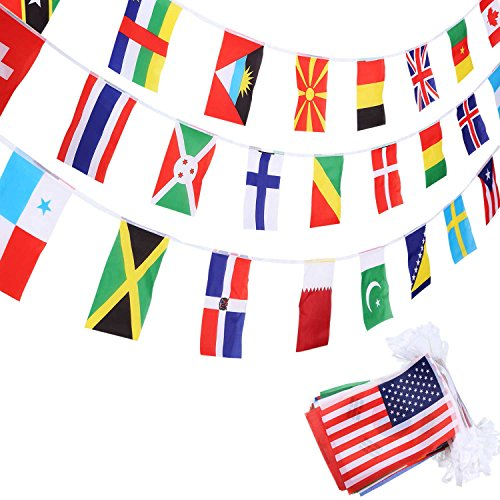 SATINIOR 200 Countries Flags International Olympic World Pennant Banner for Bar Classroom Party Decorations Sports Clubs Events Celebration