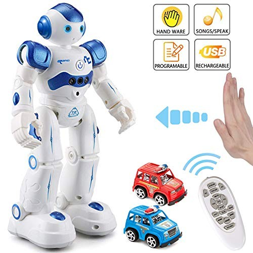 MIBOTE Remote Control Robot Toys for Kids Smart Gesture & RC Rechargeable Programmable Toddler Walking Singing Dancing Blue