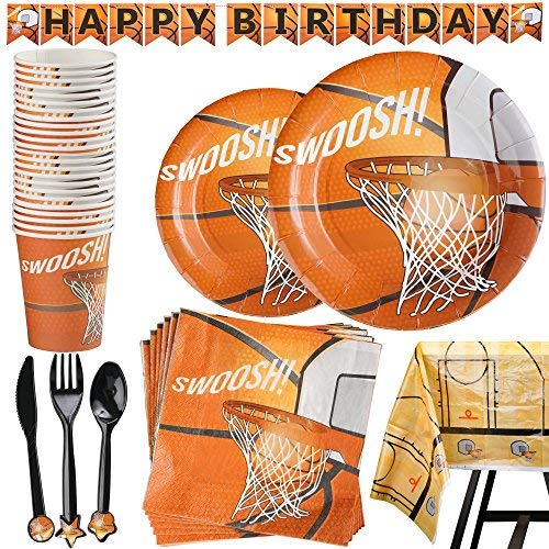 177 Piece Basketball Party Supplies Set Including Banner Plates Cups Napkins Cutlery and Tablecloth Serves 25