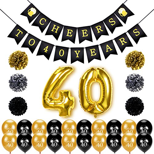 Konsait 40th Birthday Decoration Cheers to 40 Banner Number Foil Balloons Large Hello Black and Gold Tissue Paper Pom Poms for Years Old Party Favors Supplies