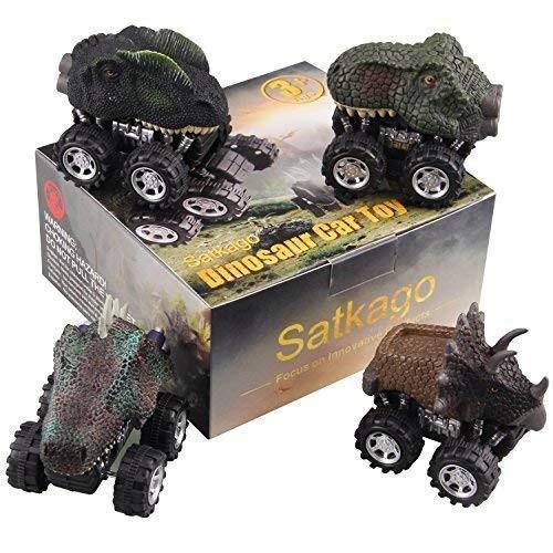 Satkago Dinosaur Toys Pull Back Car Easter Basket Stuffers Fillers 4 Pcs Dino Cars