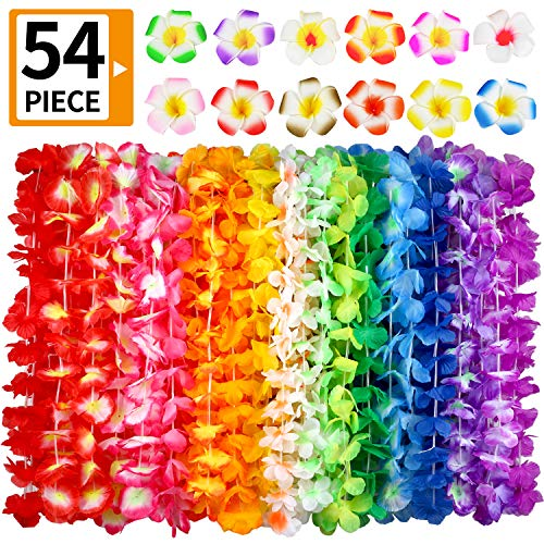 Hawaiian Leis 54 Designs Total 42 Flowers Necklaces 7 Colour and 12 Hair Clips for Party Supplies Luau Decorations Summer Beach Vacation Tropical themed Favors Birthday Wedding