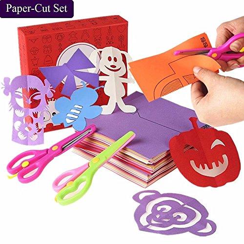 qiaoniuniu Fun Paper-Cut Set; Paper Cutting; Art; Scissor Skills Activity Cutting Book; Kids Scissors Crafts Kits Preschool-120 Pages with A Pair of Child-Safe