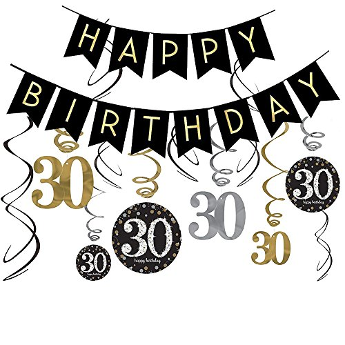 LeoHome 30th Birthday Decorations Kit- Gold Glitter Happy Banner & Sparkling Celebration 30 Hanging Swirls-30th Party Supplies