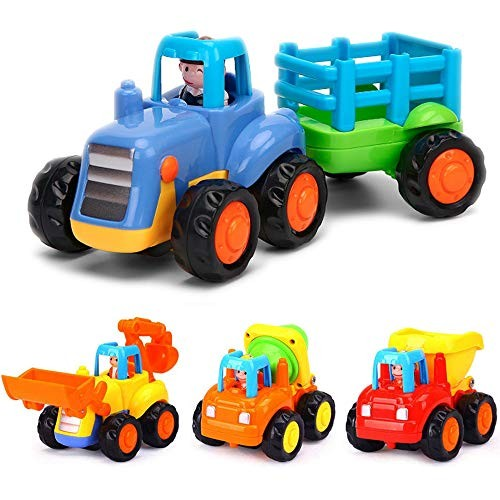 Yiosion Push and Go Friction Powered Cars Construction Vehicles Toy Set Tractor Bulldozer Mixer