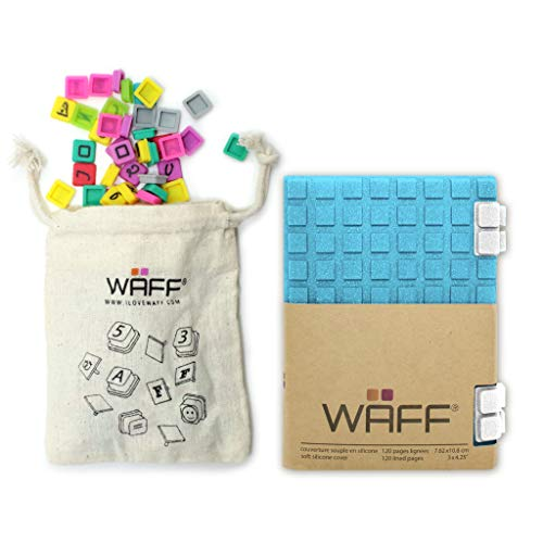 WAFF Soft Silicone Cube Tiles and Notebook Journal Combo Mini 425 H x 3 W + 100 Cubes – Glitter Aqua Blue