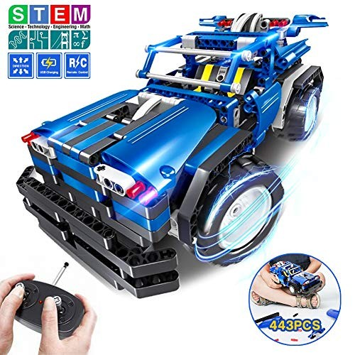STEM Toys Gift for Boys & Girls Age 6yr-14yr 2-in-1 Remote Control Car Building Kits Christmas Birthday Engineering Learning Set Kids 6789+ Year Old 443pcs